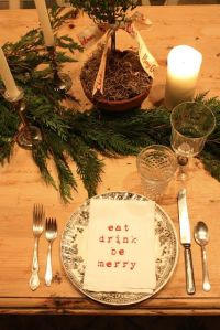 eat drink be merry stamped napkin